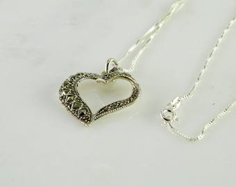 "Marcasite Open Heart Pendant on a Fine Box Link Chain 15"" All Sterling Silver"