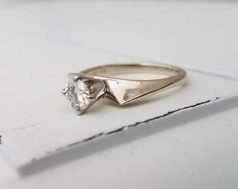 J E Caldwell Diamond 18K Engagement Ring White Gold .45 Carat Bride Jewelry