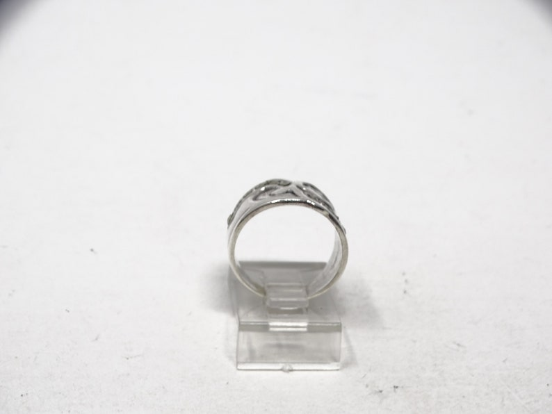 Size 6 Sterling Wide Band Artisan Ring with Marcasites