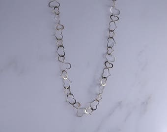"Sterling Silver Cut Out Hearts Necklace (24"") (k)"