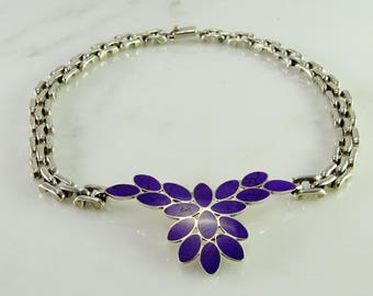 """Old Mexico 950 Sterling Purple Stone Inlay Necklace 17"""""""