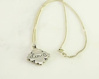 """Sterling Love Pendant on a 17"""" Sterling Chain"""