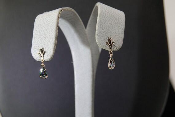 14K Gold Mystic Topaz Dangle Earrings