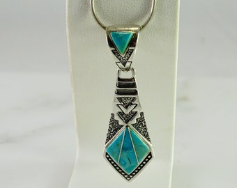 Reserved Sold Townley Inlaid Turquoise Pendant Sterling Silver