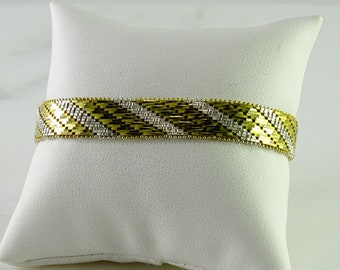 """Yellow and White Striped Sterling Bracelet 7 1/2"""""""