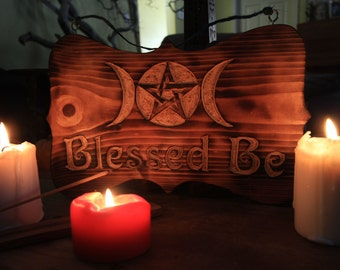 Blessed Be Triple Moon Goddess with Pentacle
