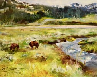 CUSTOM FRAMED Yellowstone III, original oil painting