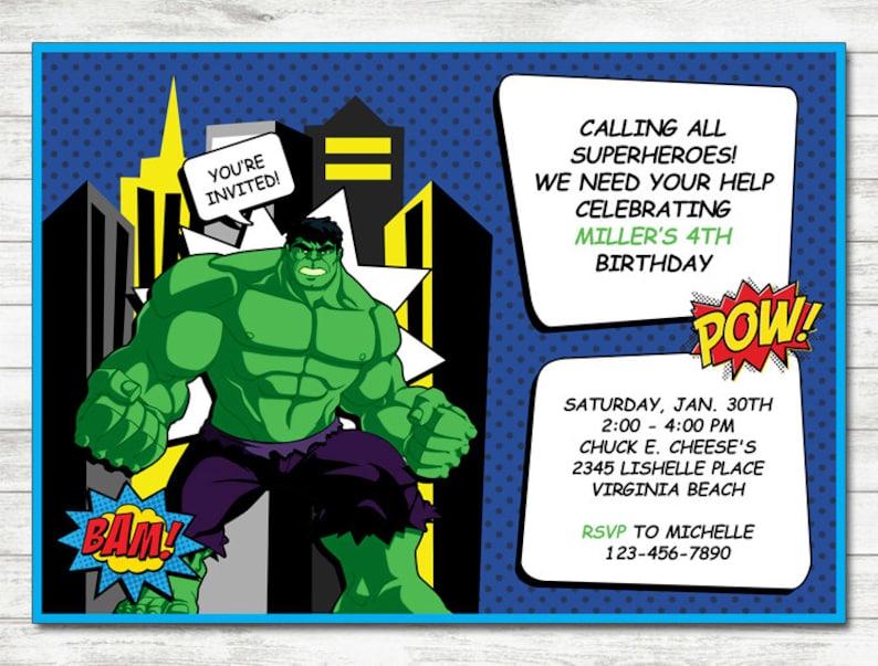 Hulk Invitation Party Printable Birthday