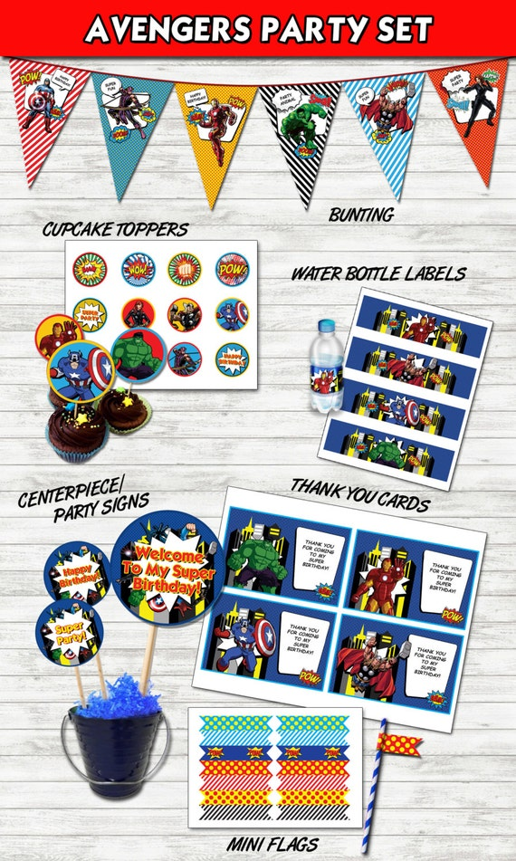 sc 1 st  Etsy & Avengers Party Set Printable Avengers Party Package