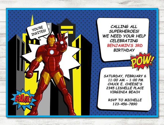 Iron Man Invitation Party Printable
