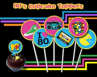 80's Cupcake Toppers, 80s Party, 80s Printable Toppers
