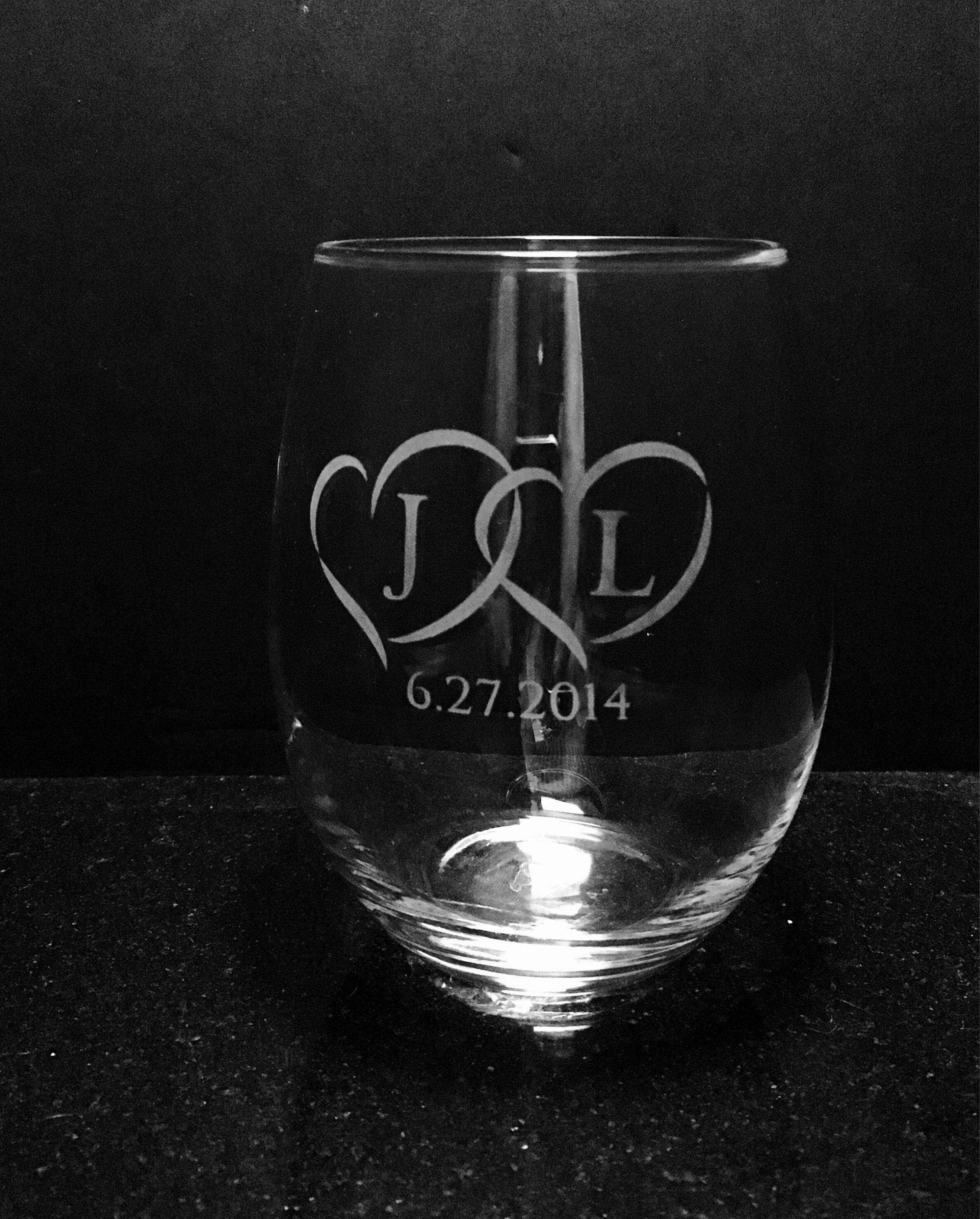 Etched Anniversary Wine Glass Wedding Glasses Wedding Gift