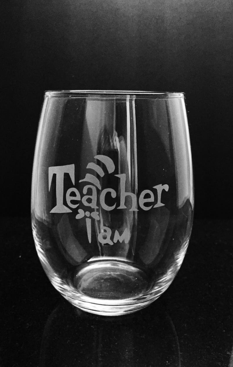 4cfd6086bfe Teacher etched wine glass Gift for teacher Stemless wine | Etsy