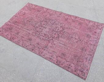 Tapis rose, tapis Vintage Rose, pi 5.5x9.3 livraison gratuite Overdye tapis, tapis Overdye rose, tapis Vintage, rose turque tapis, tapis Vintage ancien