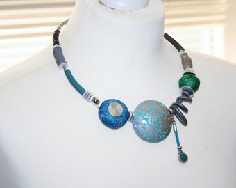 Necklace turquoise/ gray