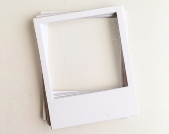 20 white card instant camera style frames for scrapbooks, smashbooks and journals