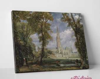 Salisbury Cathedral from the Bishop's Garden-John Constable-Fine Art High definition print on canvas canvas