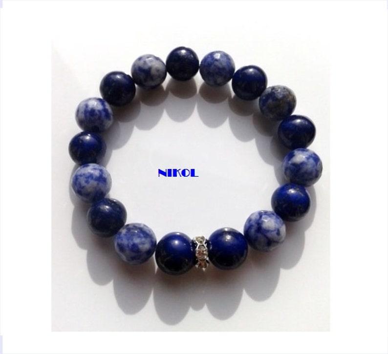 3c08682d63eb Pulsera de lapislázuli de 10mm 10 mm Sodalita azul con