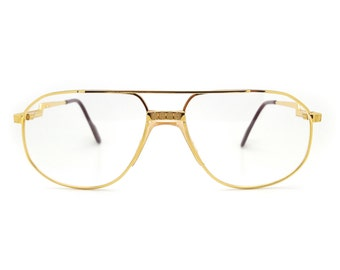 0965dfeb6e08 Genuine 1980s Hilton Exclusive 024 C1 24kt Gold Plated Aviator Optical  Glasses Frame    Made in Italy    New Old Stock