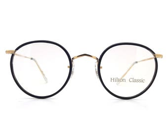 d891842185a Genuine 1980s Hilton Classic 1 Panto Black Vintage Glasses    Made in  England    New Old Stock    14K Rolled Gold