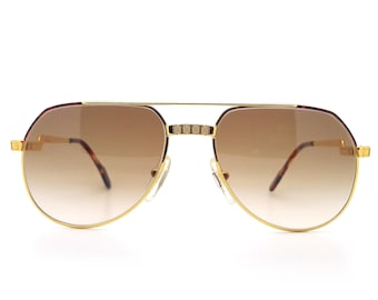 3193ff8bab65 Genuine 1980s Hilton Exclusive 021 C2 24KT Gold Plated Vintage Aviator  Sunglasses    Made in Italy    New Old Stock