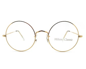 ebc8f8df5f5c Genuine 1980s Hilton Classic 2 14K Rolled Gold Round Vintage Glasses    Made  in England    New Old Stock