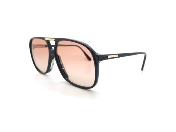 Vintage Haute Couture 1247 8 80s Black Aviator Sun