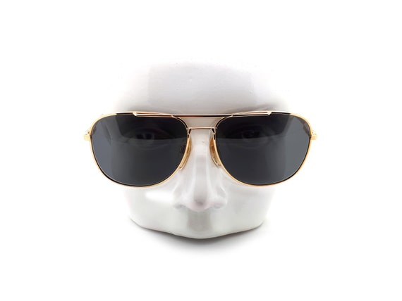 Vintage Haute Couture 8307 1 Gold Aviator 80s Sun… - image 1