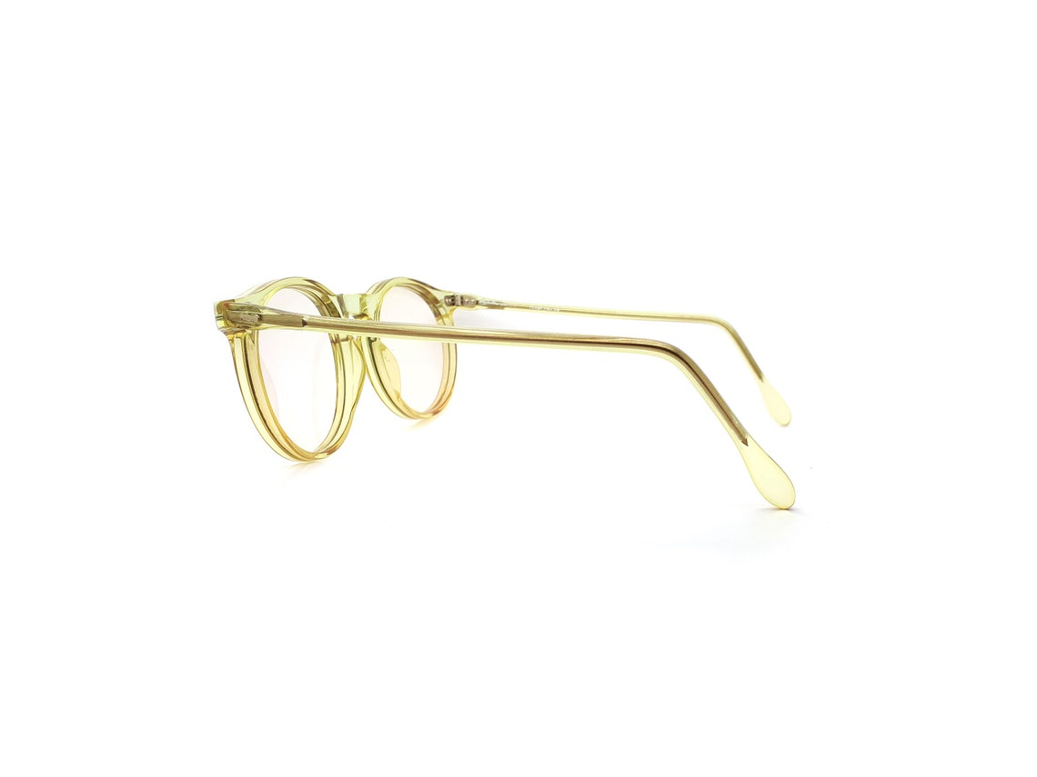 Anglo American 80s Vintage Yellow Round Eyeglasses,  Mod 110 Glasses Frames // 1980s New Old Stock
