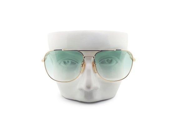 Vintage Haute Couture 8307 1 80s Gold Aviator Sunglasses  1980s Designer Sunglasses