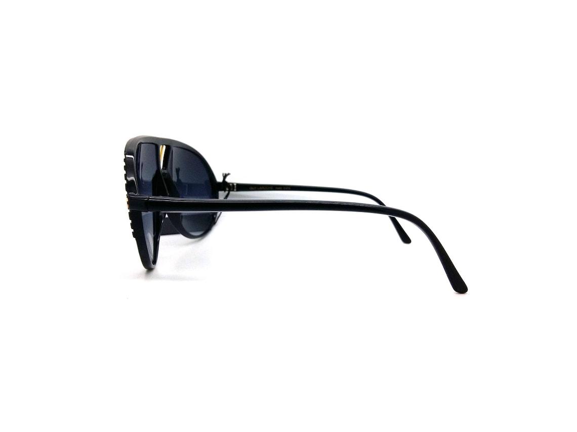 Genuine 1980s Guy Laroche 513710 Vintage Black Aviator Sunglasses // Made in France // New Old Stock
