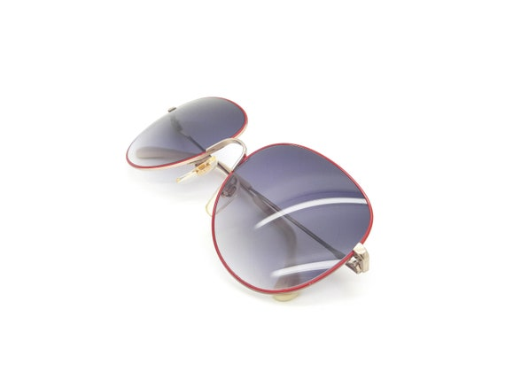Metzler 0828 Red Vintage Aviator Sunglasses // Vi… - image 4