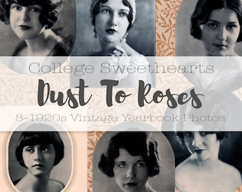 College Sweethearts // Digital Download // 1920s Vintage Yearbook Annual Photos // Glamour Headshots // Vintage Photographs