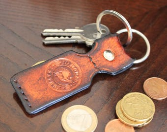 Keyring, brown, leather keychain, handmade, handcrafted, gift for him, gift for her
