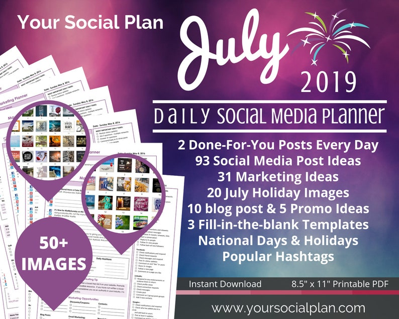 JULY Social Media Planner, 50+ IMAGES, 93 social post ideas, tips,  templates, blog posts, and promos ideas- Great for all businesses!