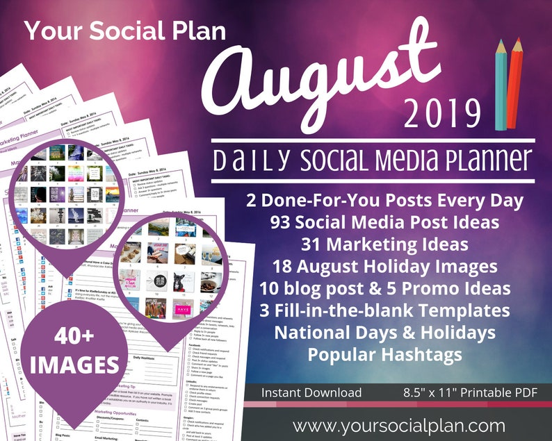 AUGUST Social Media Planner, 40+ IMAGES, 93 social post ideas, tips, templates, blog posts, and promos ideas Great for all businesses!
