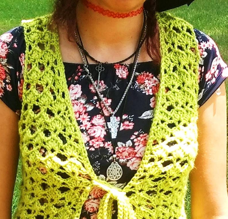 Tie Front. Celery Green Vest Size M Vest Handmade Open Front Vest 70s Style Light Green Crochet Vest Chartreuse Vest Hip Length Vest