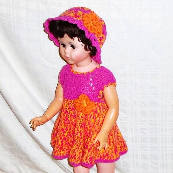 931d1a0e2fd4 Pink and Orange Dress Baby Dress and Hat Handmade Crochet