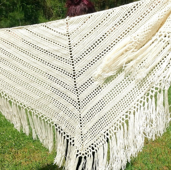 Boho Chic Shawl, Handmade Crochet Wrap, Off White Triangle Shawl, Knotted Lattice Trim, Hippie Chic Wrap, Festival Shawl, Summer Shawl - Summer Crochet
