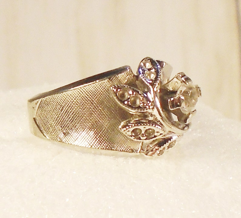 Leaf Design 18 KT White Gold Plate Cocktail Ring. Brushed Satin Finish 1950s Wedding Ring Wide Band Vintage ESPO CZ Engagement Ring