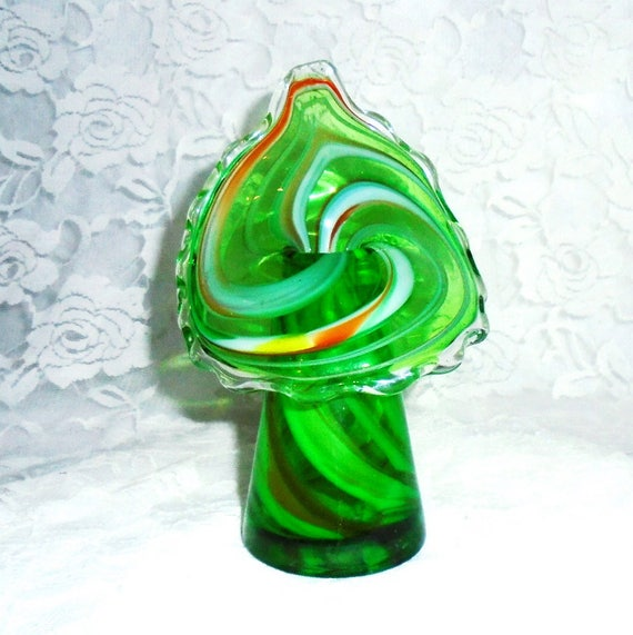 Jack In The Pulpit Vase Lutetian Glass Vase Vintage Green Etsy