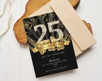 50th Birthday Invitation Black Gold And Diamonds Birthday65