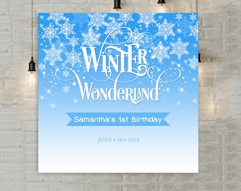 winter wonderland invitation template blue 1st birthday etsy