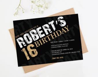 Teen Birthday Invitation 16th Boy Party Template 18th Birthday10