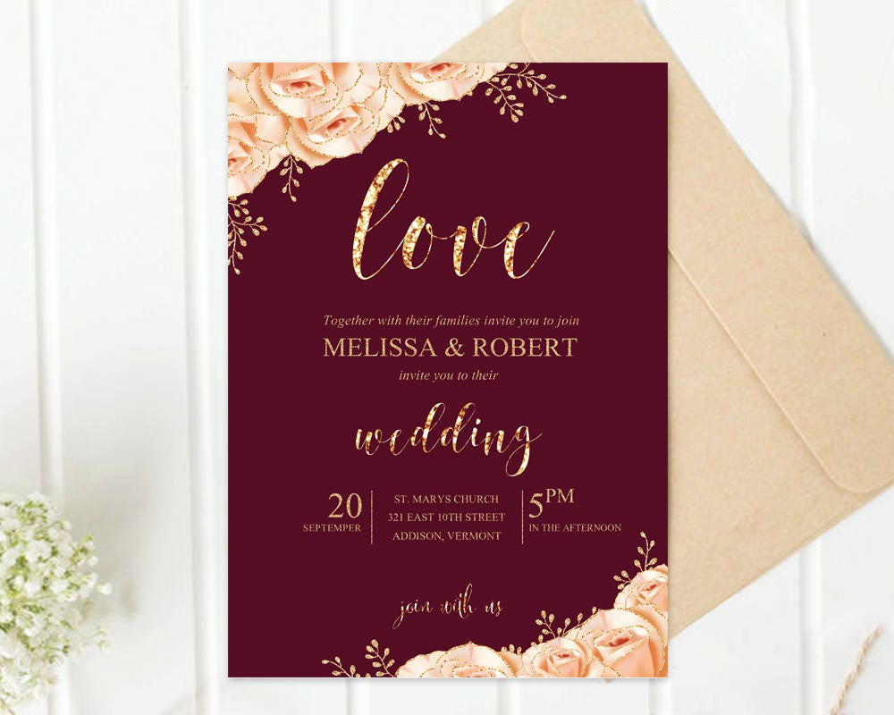 Printed Wedding Invitation Gold Roses Glitter Champagne and