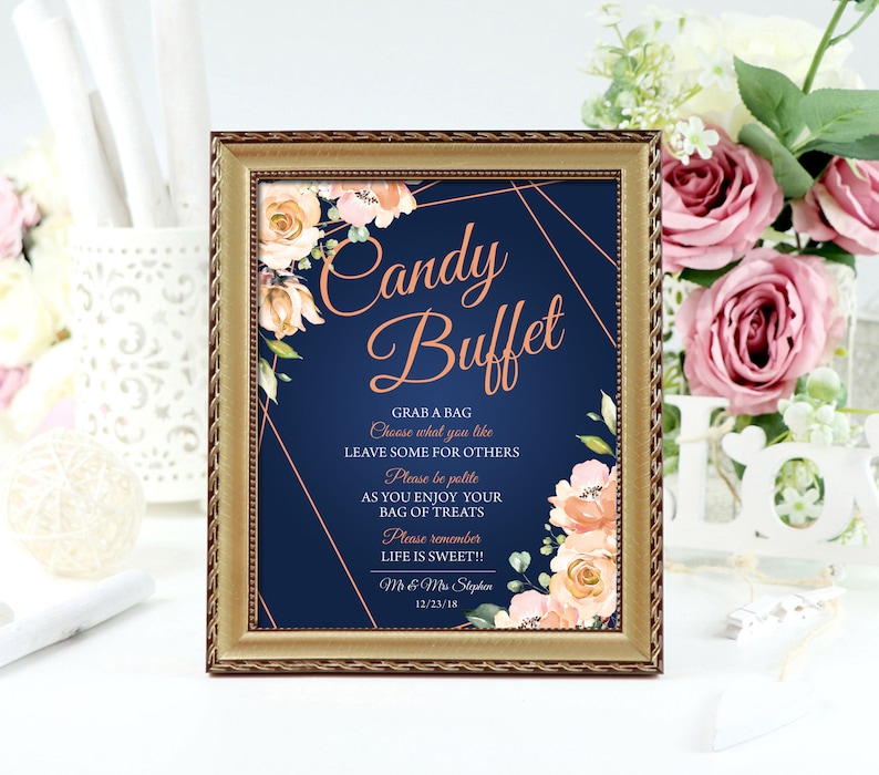 Miraculous Candy Buffet Sign Template Navy And Blush Guestb4 Interior Design Ideas Tzicisoteloinfo