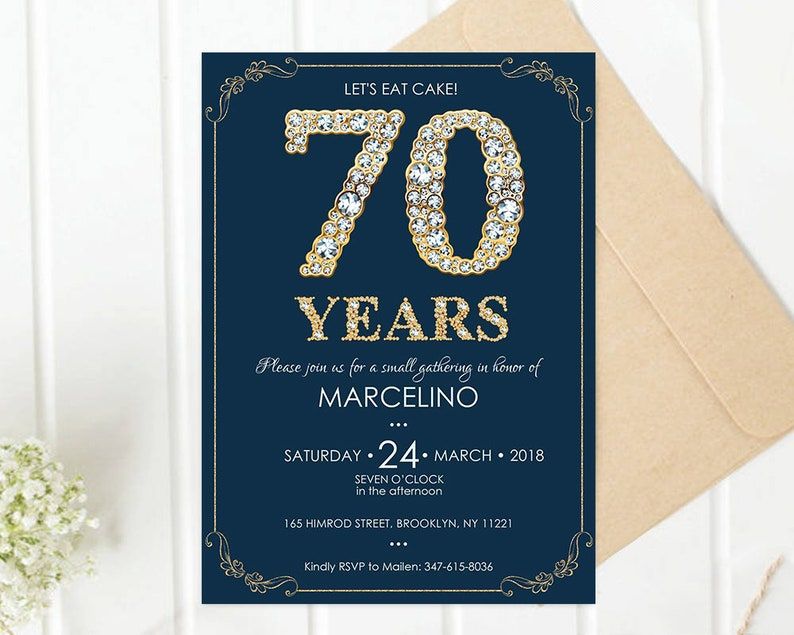50th Birthday Invitation Template Navy 70th Party