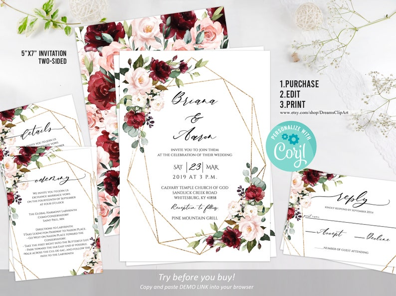 EDITABLE Burgundy And Blush Wedding Invitation Template Rose Gold Marsala Floral Love Geometric Corjl DIY WI94