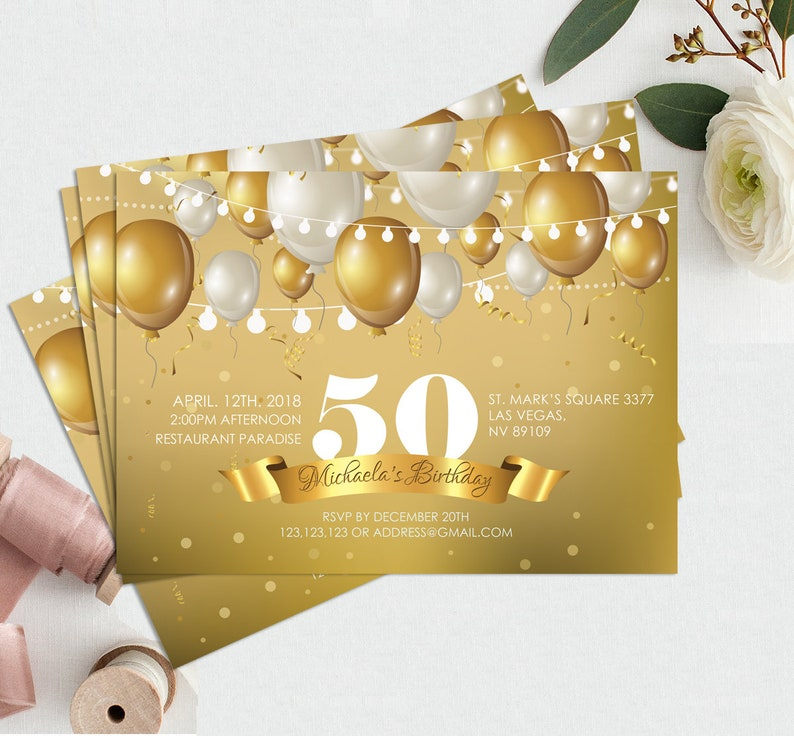 50th Birthday Invitation Template Any Age Gold And Diamonds