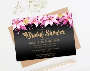 Burgundy and Gold Bridal Shower Invitation, Pink Clematis Bridal Invite, Template, Printable Floral Wedding, BridalSh22